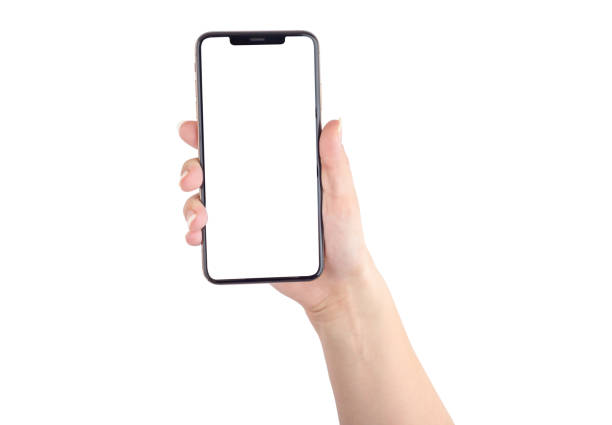 Smartphone with a blank white screen. New popular smartphone in hand on white background. Smartphone with a blank white screen. New popular smartphone in hand on white background. hand stock pictures, royalty-free photos & images