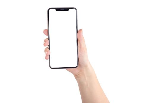 Smartphone With A Blank White Screen New Popular Smartphone In Hand On White Background - Fotografie stock e altre immagini di Adulto