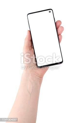 istock Smartphone with a blank white screen. New popular smartphone in hand on white background. 1141304037