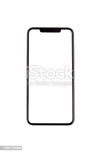 Smartphone with a blank white screen. New popular smartphone isolated on white background.