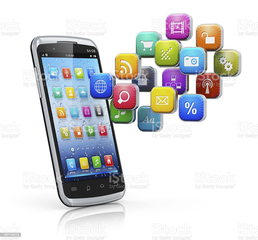 Smartphone with a cloud of home screen icons floating above royalty-free stock photo