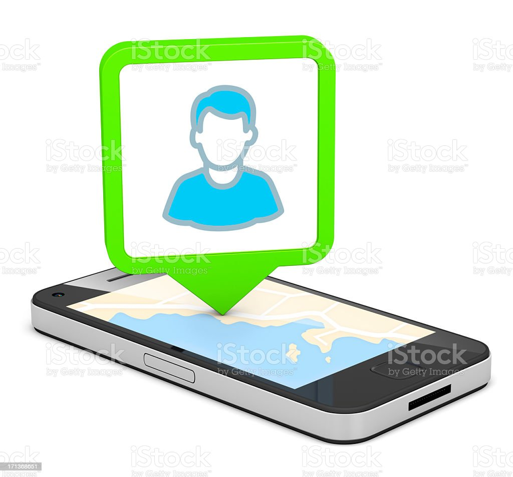 A smartphone with a map showing directions to user stock photo
