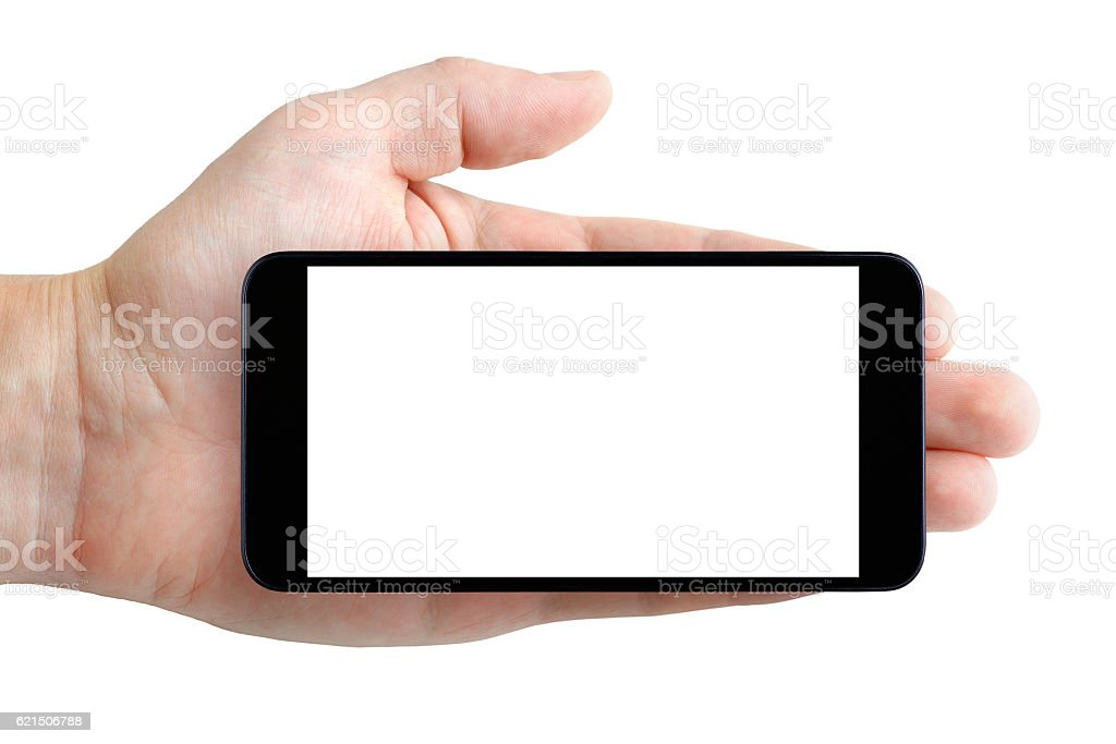 Smartphone with blank display in hand isolated on white background foto stock royalty-free