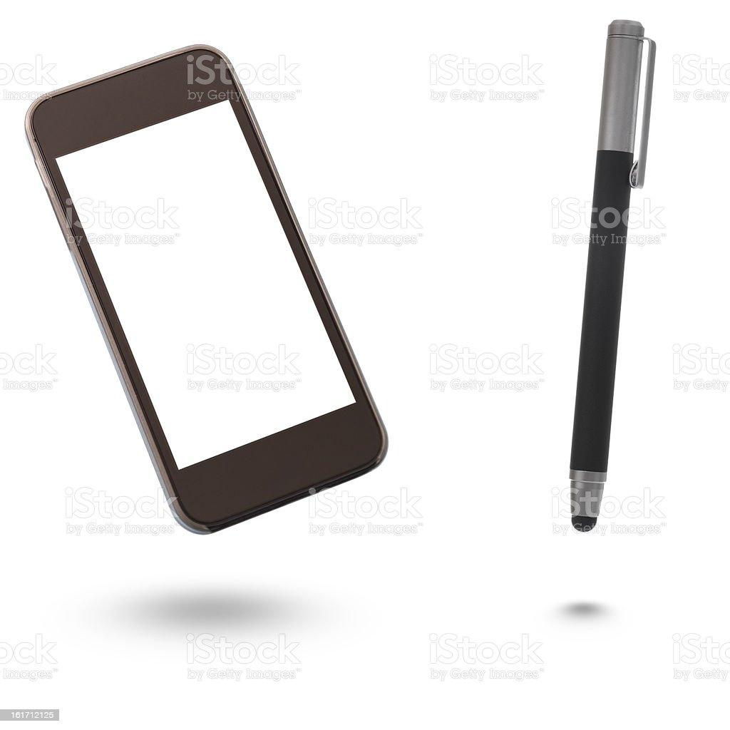 Smartphone with Blank Screen and digital pen stock photo