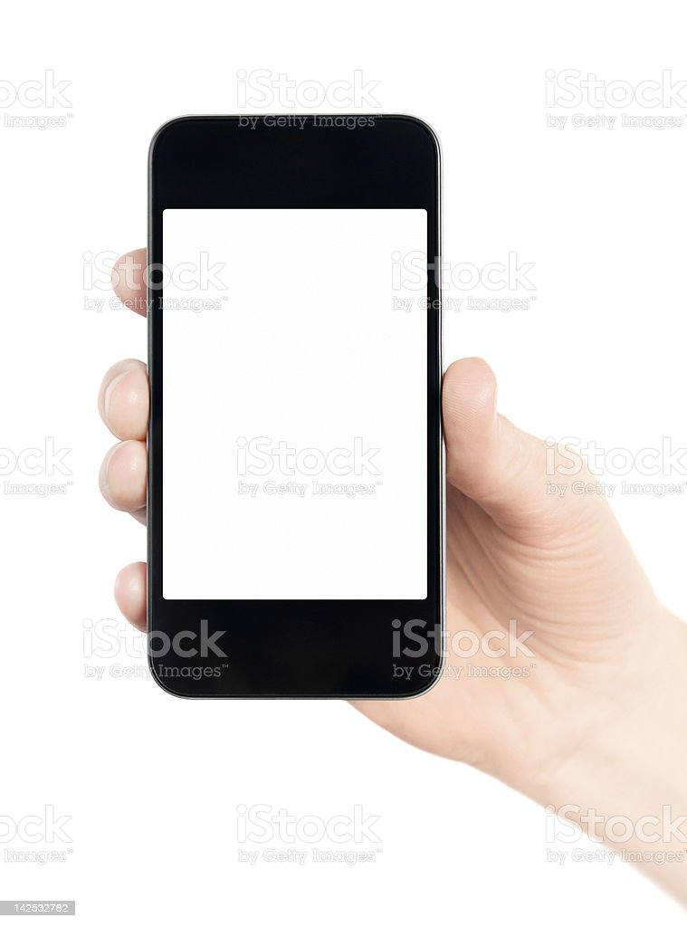 Smartphone with blank screen in hand royalty-free stock photo