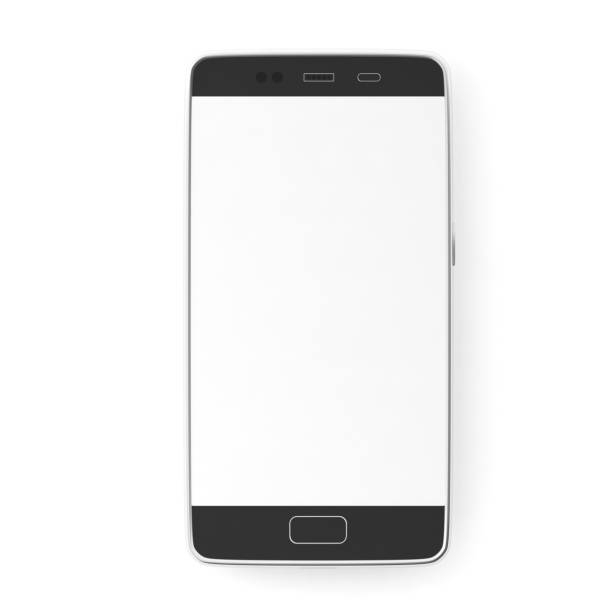 smartphone with blank white screen isolated on white background, top view, copy space. 3d illustration - cyborg stock photos and pictures