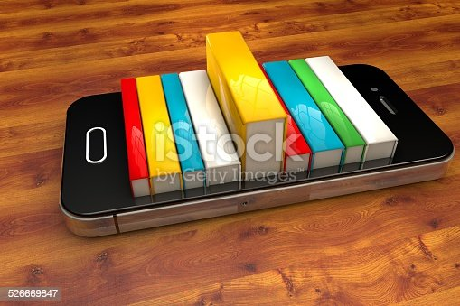 istock smartphone with books isolated, E-book library concept 526669847