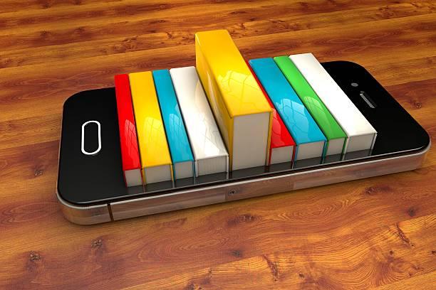 smartphone mit Büchern, isoliert, Bibliothek-Konzept-book – Foto