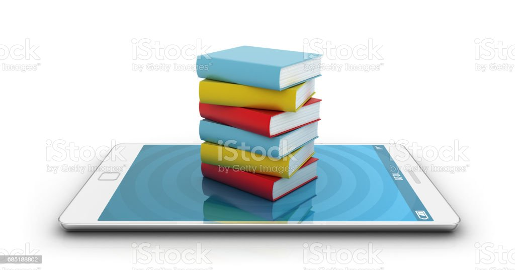 Smartphone with books stock photo