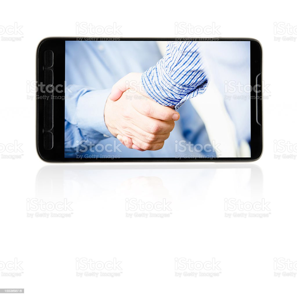 Smartphone with business handshake on white royalty-free stock photo