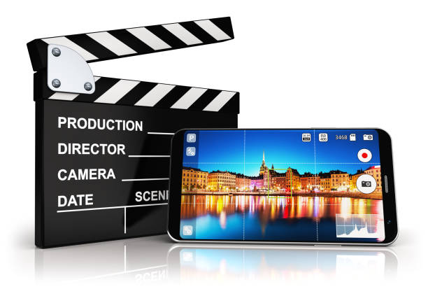 Smartphone with camera app and clapper board stock photo