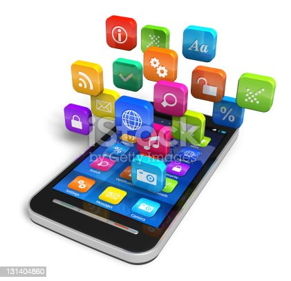 istock Smartphone with cloud of application icons 131404860