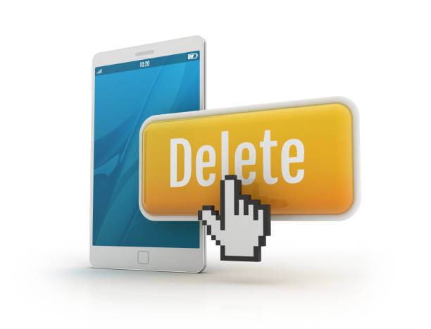 Smartphone with delete button and hand cursor stock photo