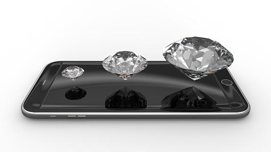 1044507110 istock photo Smartphone with diamonds 518734427