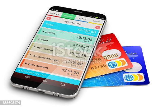istock Smartphone with financial manager app and bank credit cards 686603474