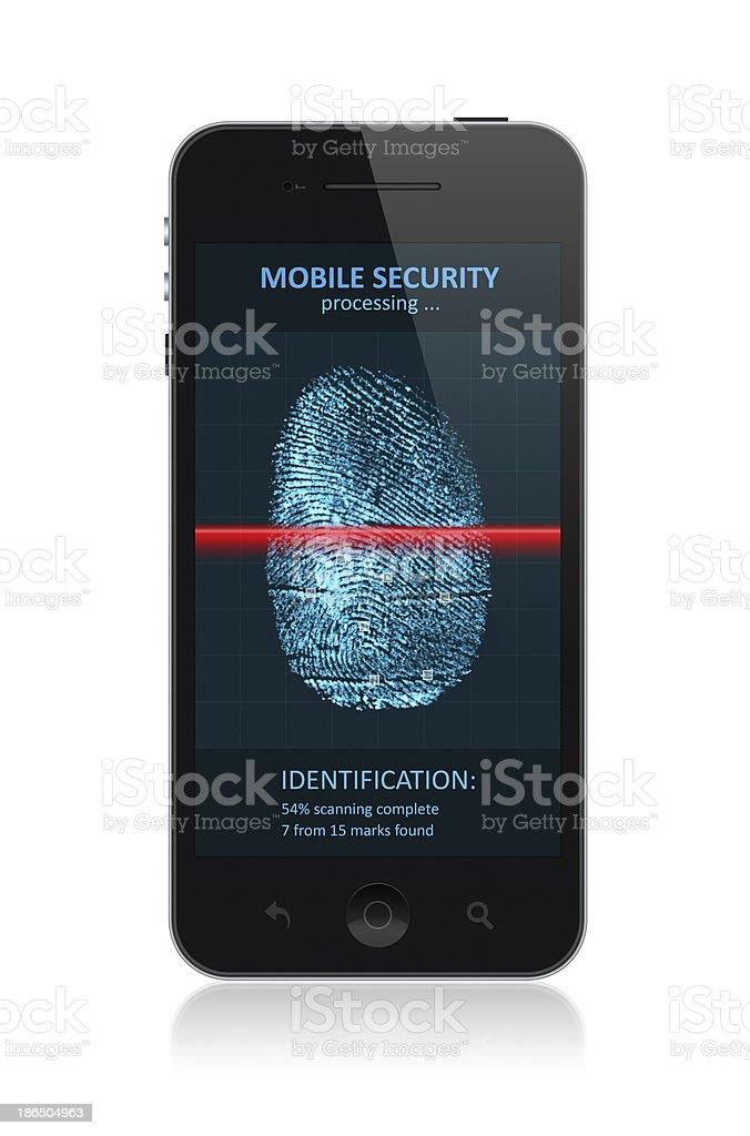 Smartphone with fingerprint application stock photo