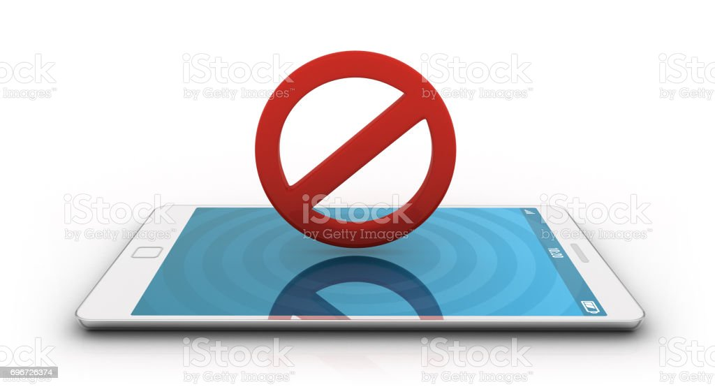 Smartphone with forbidden icon stock photo