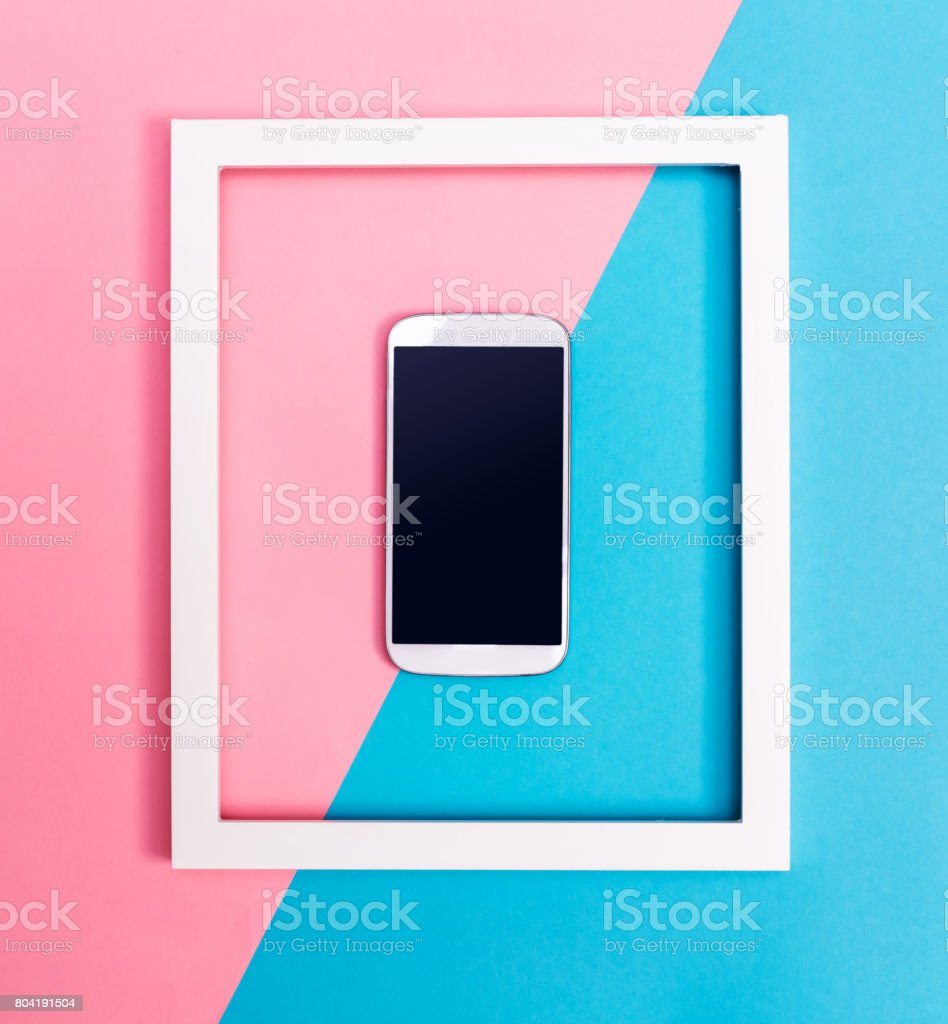 Smartphone with frame stock photo