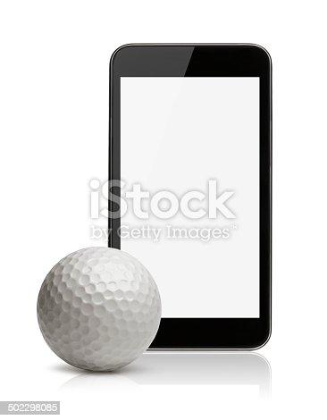 952196272 istock photo smartphone with golf ball 502298085