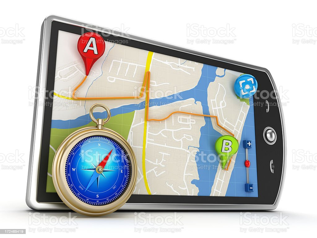 Smartphone with GPS navigation royalty-free stock photo