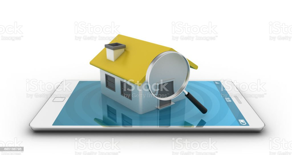 Smartphone with house and magnifying glasses stock photo