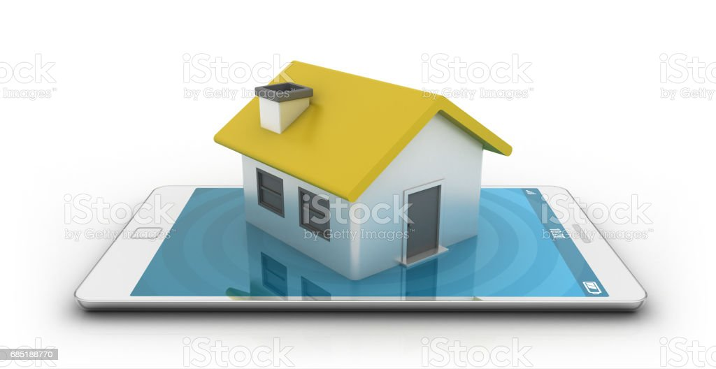 Smartphone with house royalty-free stock photo