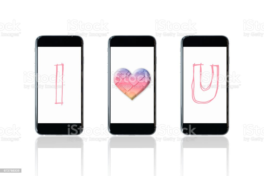 Smartphone with I love you symbol on screen. royalty-free stock photo