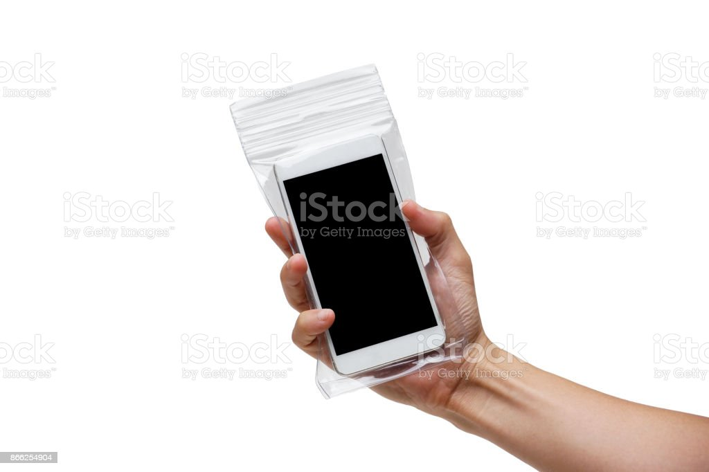 A smartphone with in a waterproof case stock photo