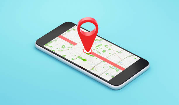 smartphone with map location, destination - mouse pointer stock photos and pictures