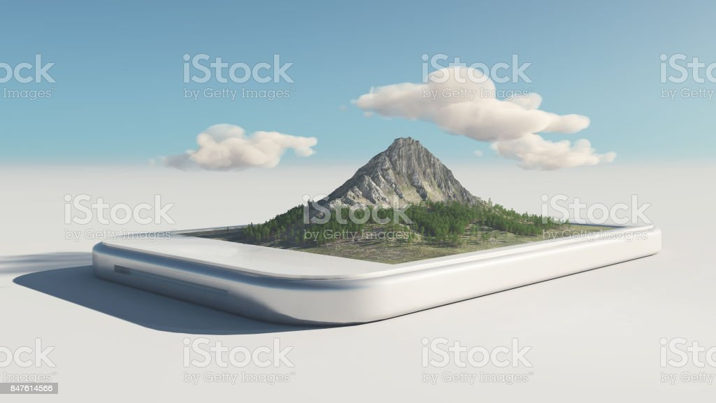 A smartphone with mountain on touch screen stock photo