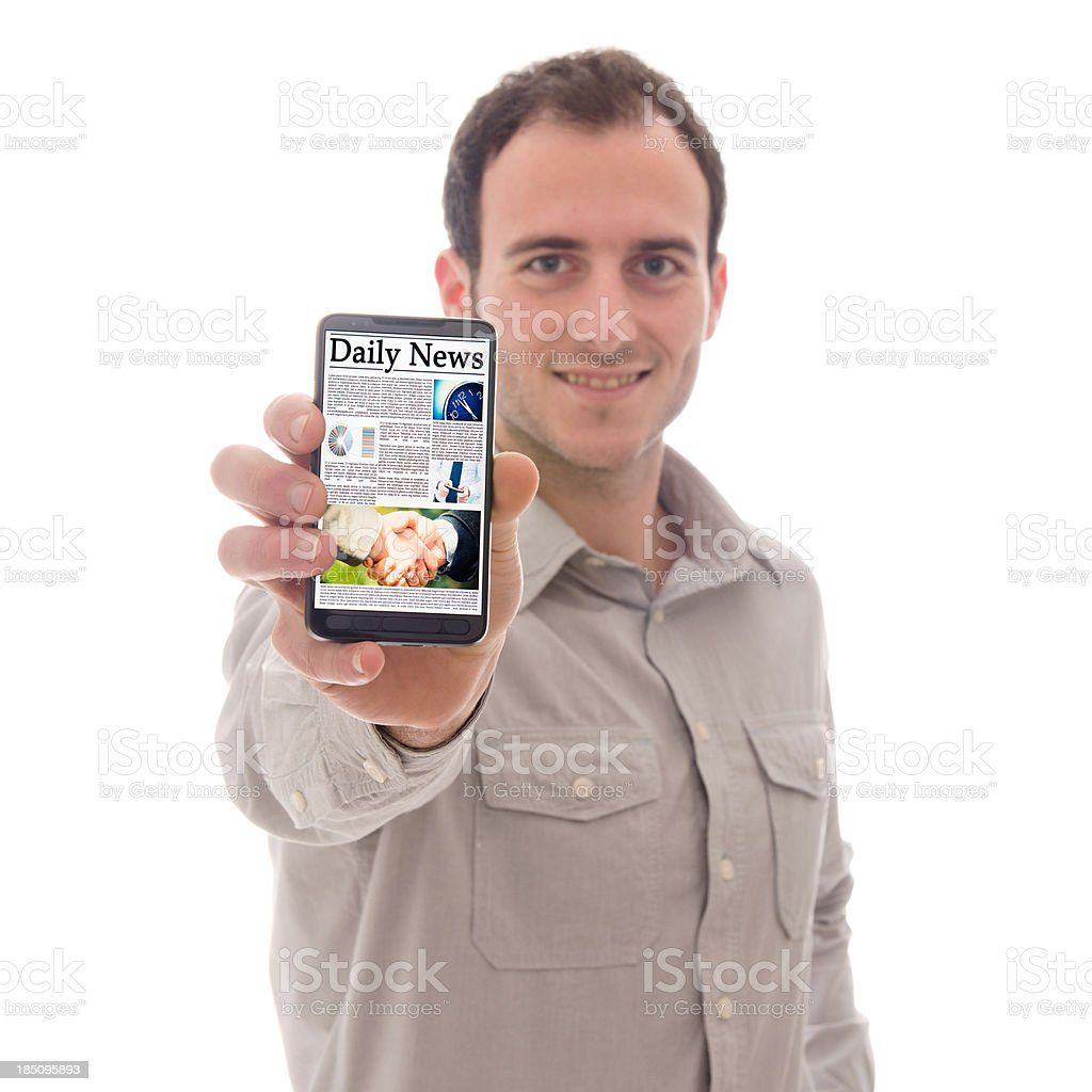 Smartphone with newspaper stock photo