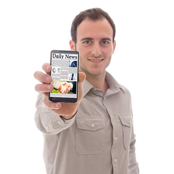 スマートフォンと新聞 ストックフォト