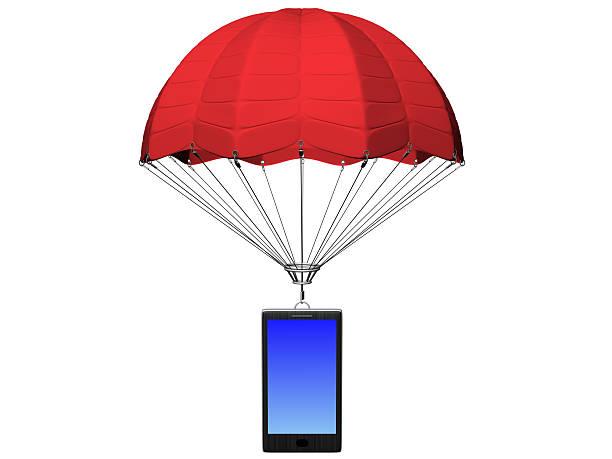 smartphone mit Fallschirm – Foto