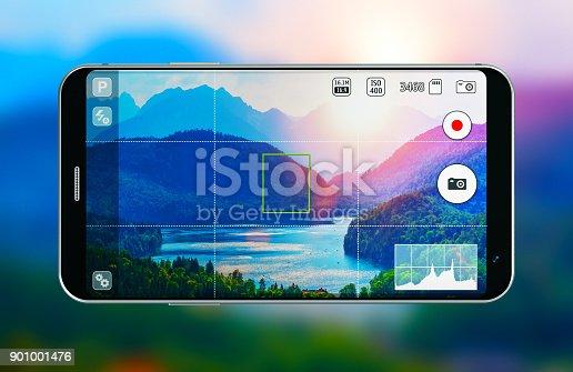 istock Smartphone with photo camera app 901001476