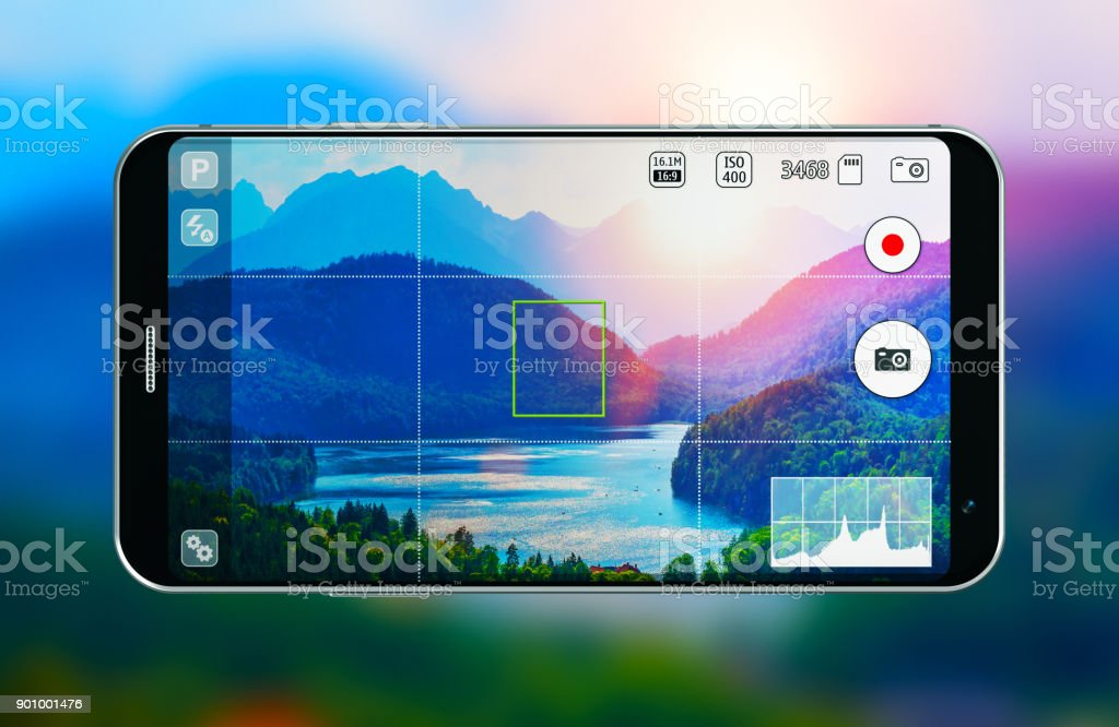 Smartphone with photo camera app stock photo