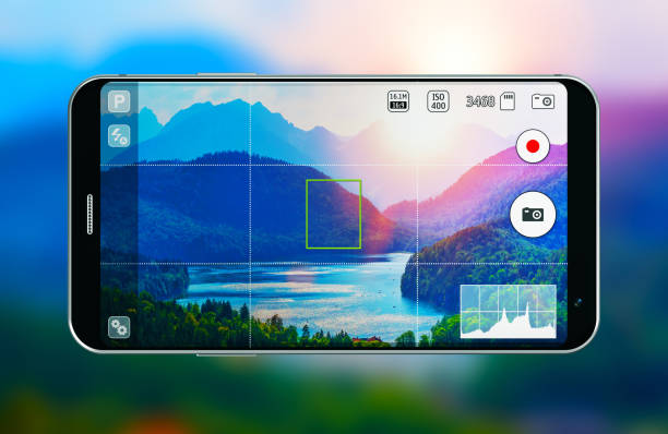 smartphone with photo camera app - photo messaging stock photos and pictures