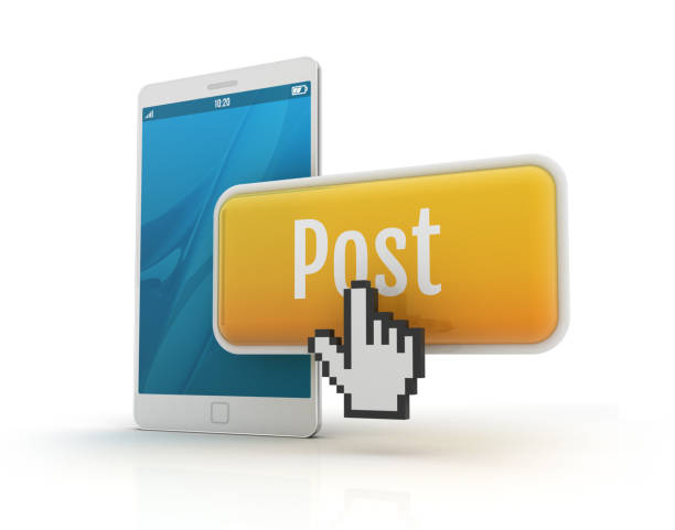 Smartphone with post button and han cursor stock photo