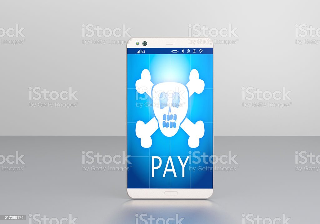 Smartphone with Ransomware stock photo
