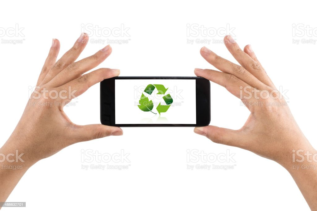 Smartphone with Recycling Symbol stock photo