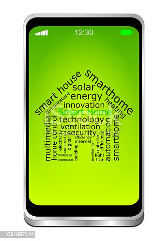 smartphone with smart home wordcloud on green desktop - 3D illustration