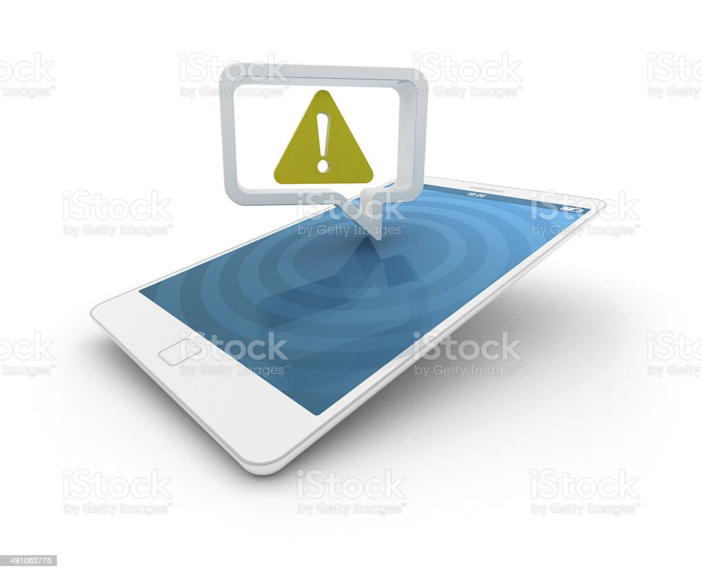 Smartphone with speech bubble - Alert sign stock photo
