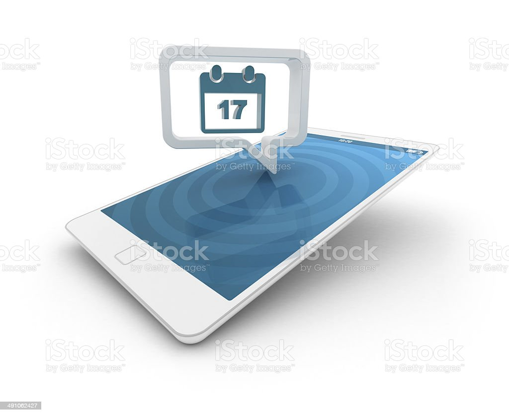 Smartphone with speech bubble - Calendar stock photo