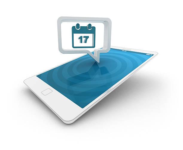 Smartphone with speech bubble - Calendar stock photo