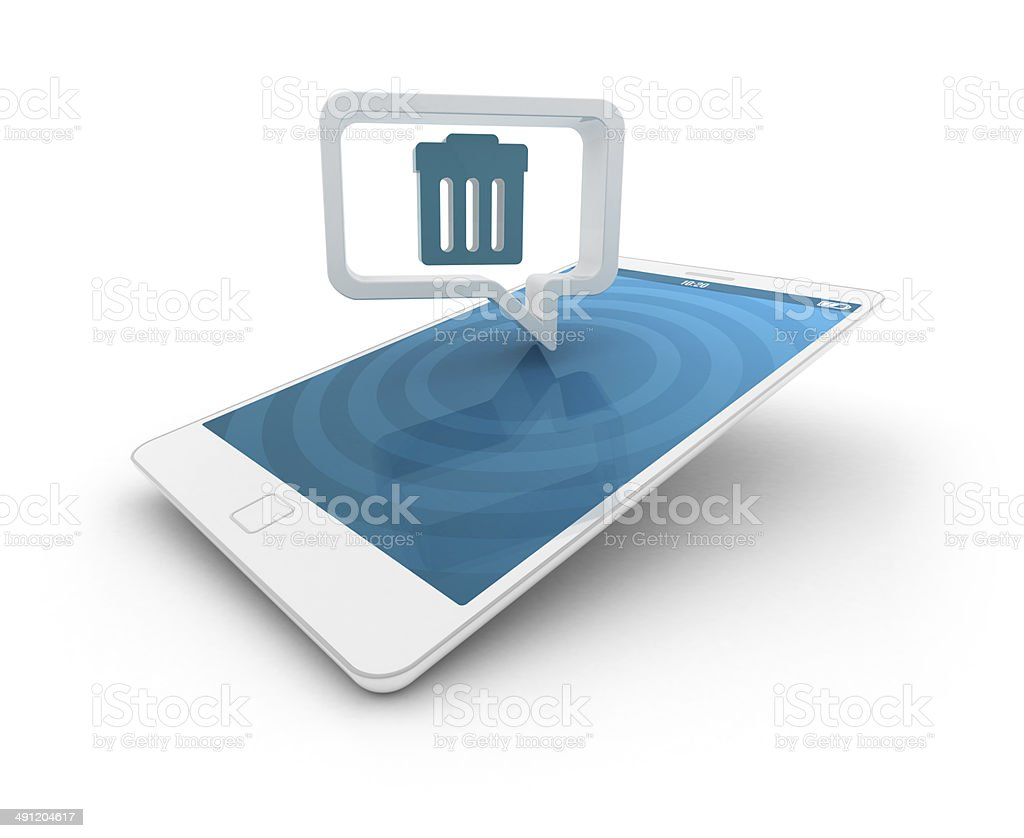 Smartphone with speech bubble - Recycle bin stock photo