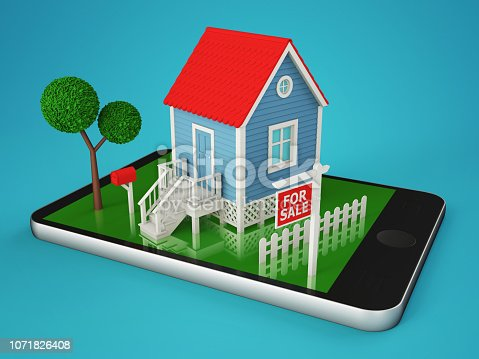 istock Smartphone with the layout of a private house for sale 1071826408