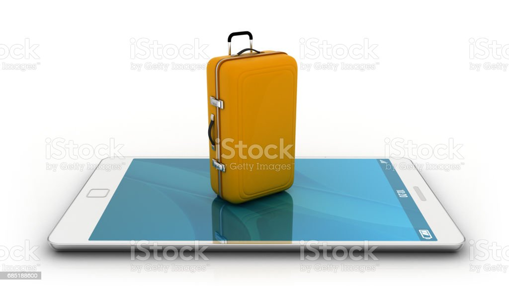 Smartphone with travel bag royalty-free stock photo
