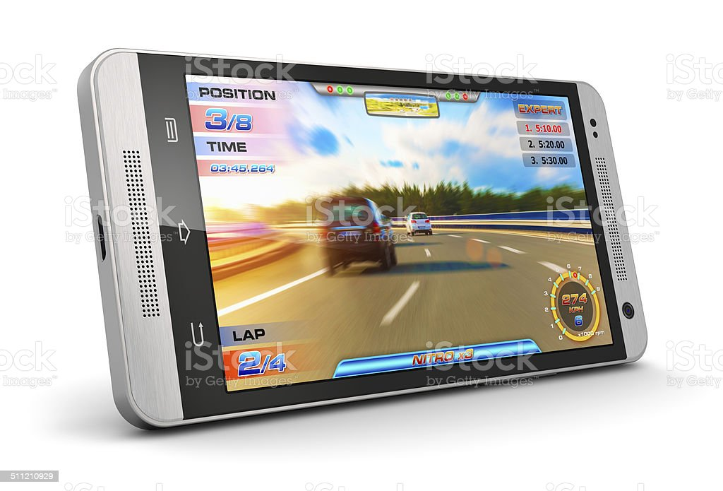 Smartphone with video game stock photo