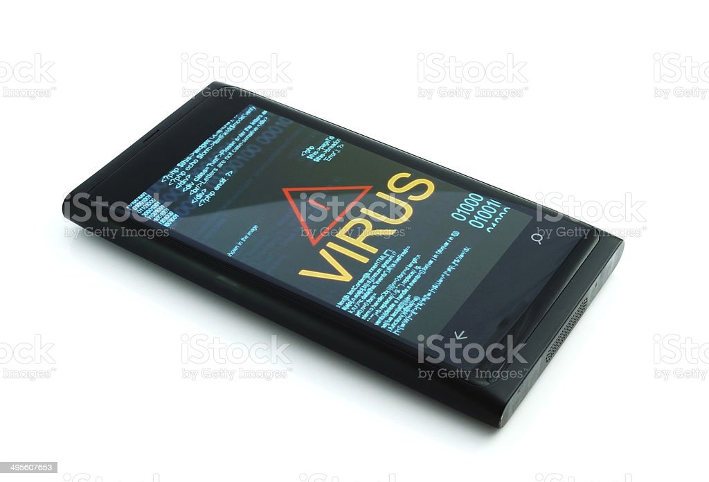 Smartphone with virus on white background stock photo