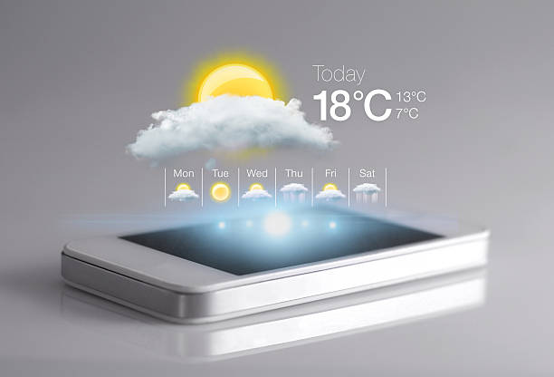smartphone with weather icon on light grey background. - weather stock photos and pictures