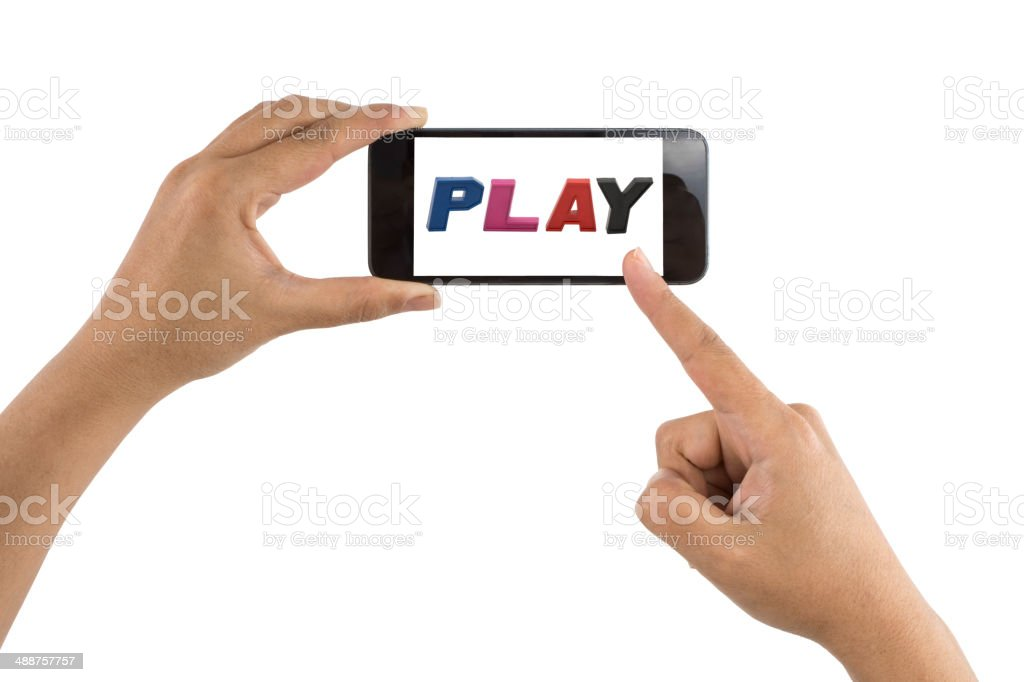 Smartphone with word Play stock photo